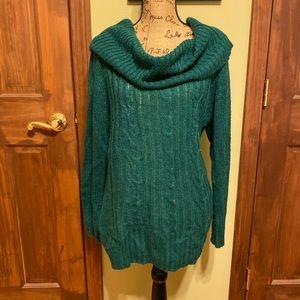 Torrid green cowl neck sweater 1